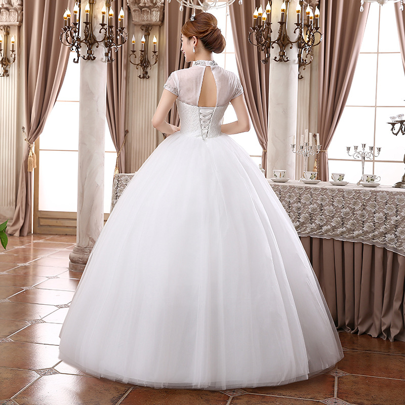 7e9178a4cb10e Aliexpress New half Turtleneck Short Sleeve Wedding Dresses,Princess  Diamond band Floor Length Lace Up maternity Bride Gowns.-in Wedding Dresses  from ...