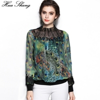 New Fashion Women Long Sleeve Stand Beading Transparent Neck Lace Pathwork Peacock Print Silk Blouse Chiffon Shirts Women Tops