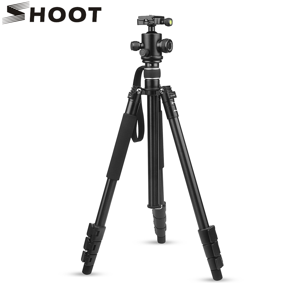 SHOOT Professional Flexible 4-sections Aluminium Tripod Stand with Pan Head for Canon Nikon DSLR Action Camera Accessories universal adjustable pro camera tripod aluminium tripods stand with pan head for sony nikon canon slr dslr digital camera black