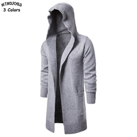 2018 New Mens long style hooded cardigan knitting sweaters casual mens solid color knitted coats fashion mens loose clothing