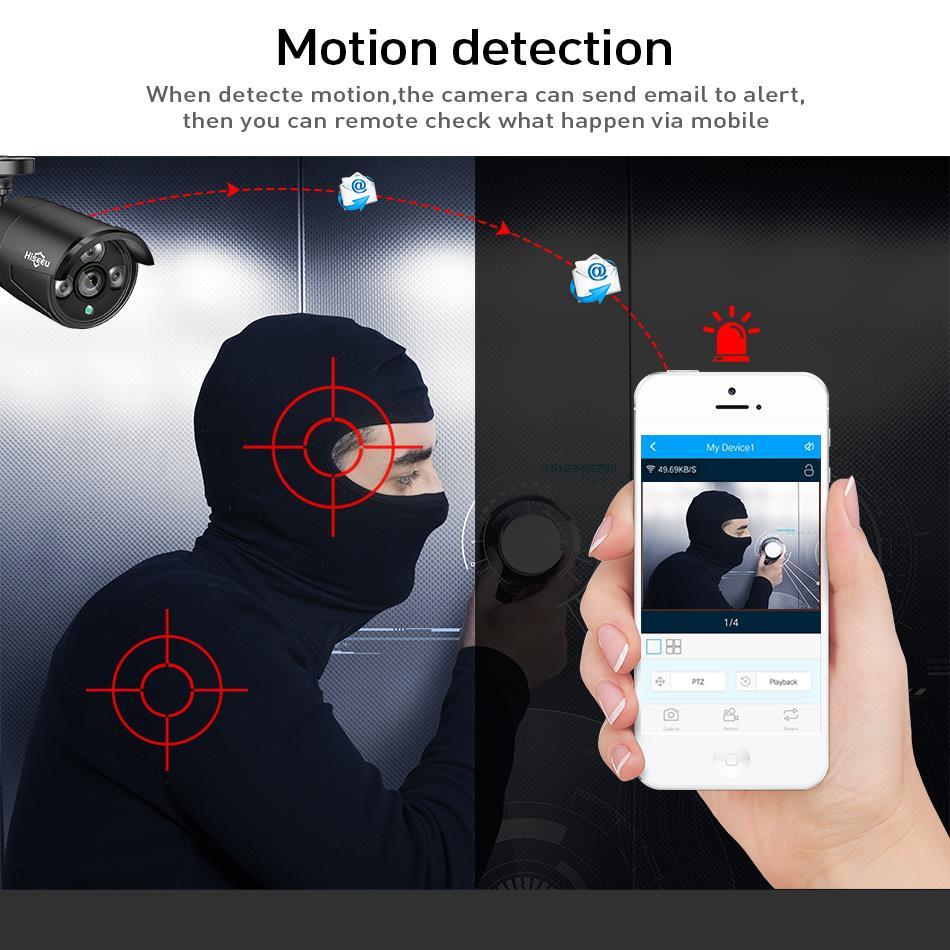 Hiseeu 8CH 1080 P HD al aire libre IR visión en noche y con Video de vigilancia 4 piezas de la cámara de seguridad IP de 2MP WIFI Sistema de CCTV inalámbrico NVR Kit HDD - 4