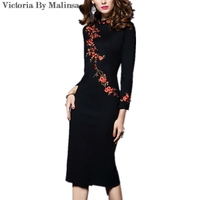 2017 New Women Autumn Winter Empire Waist Dress Floral Black OL Office Feminine Vestido Wear Work