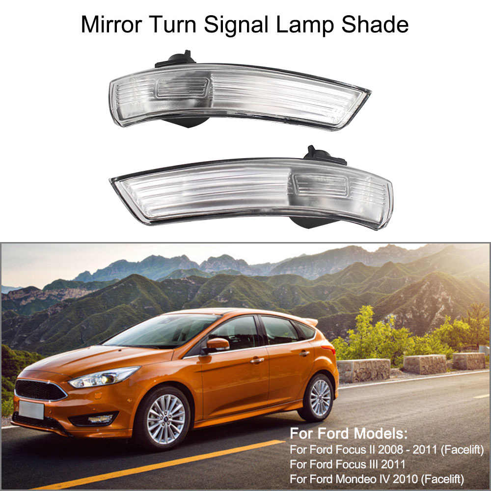 hight resolution of pair of mirror turn signal corner light lamp cover shade screen for ford focus ii 2