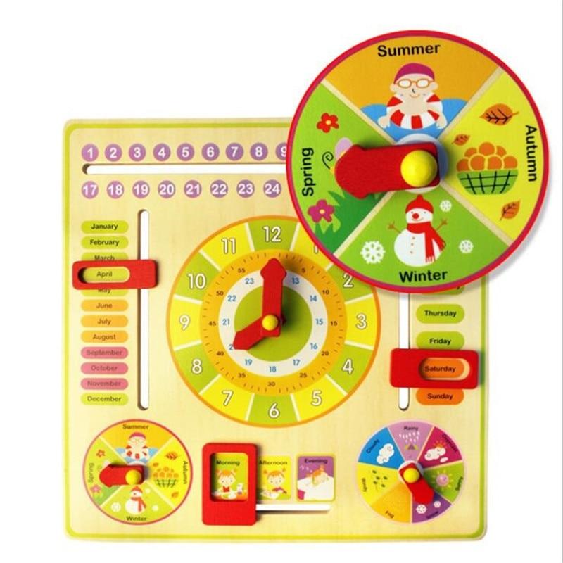 Horloge en bois Montessori Météo Saison Semaine Mois Bloc - Concepteurs et jouets de construction - Photo 3