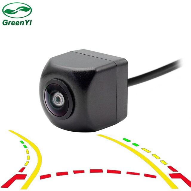 GreenYi 180 grados HD gran angular lente de ojo de pez trayectoria dinámica línea de estacionamiento vista trasera del coche Monitor de aparcamiento de cámara inversa