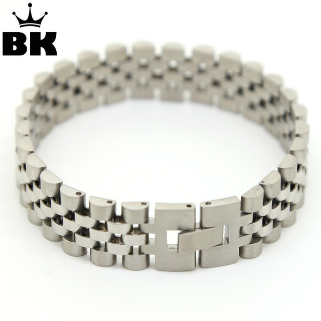 Mens Stainless Steel Iced Out Hip Hop Bracelet President Style Strap Hidden Clasp Bracelets Bangles