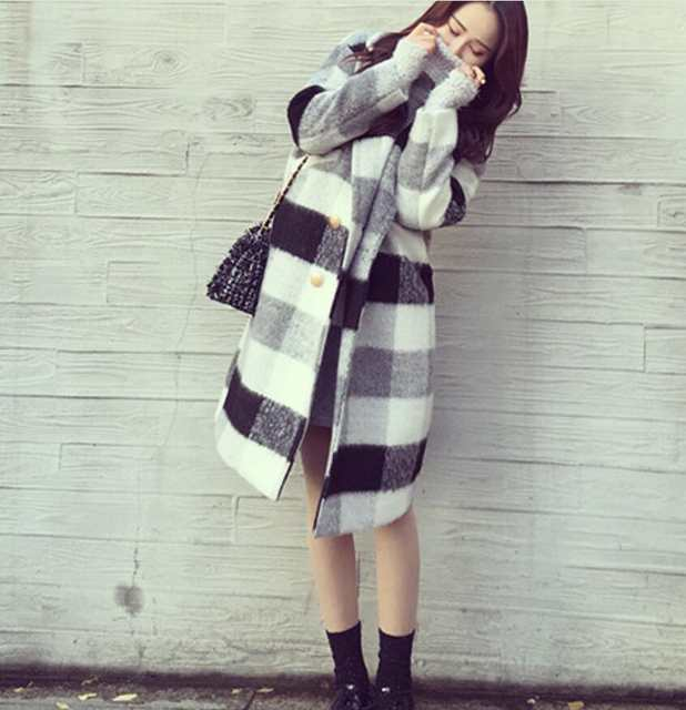 Us26 92 Autumn And In Woolamp; Section Coat Blends Long Thick White Winter From 25Off Female Women's Woolen Coats Plaid Loose Wild new Black FJT1cu35lK