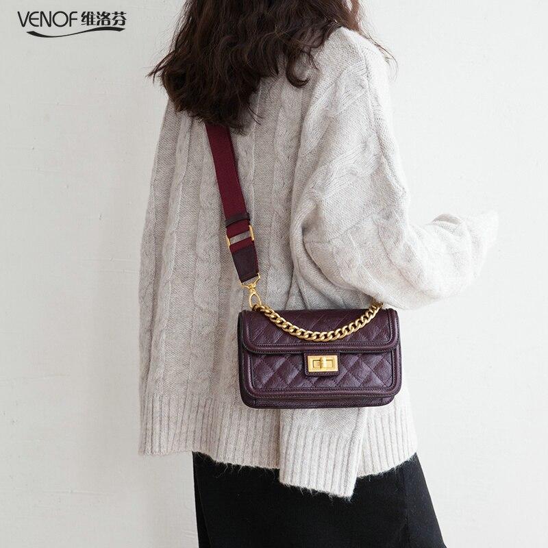 VENOF Fashion chain handbag crossbody bags for Women diamond pattern split leather ladies wide straps shoulder