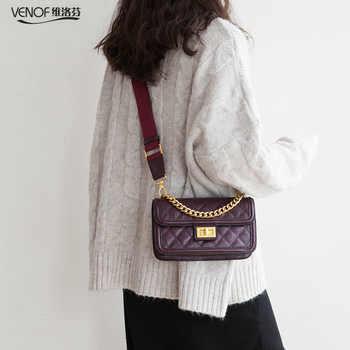 VENOF Fashion chain handbag crossbody bags for Women diamond pattern split leather ladies wide straps shoulder Flap Bag for 2019 - DISCOUNT ITEM  47% OFF All Category