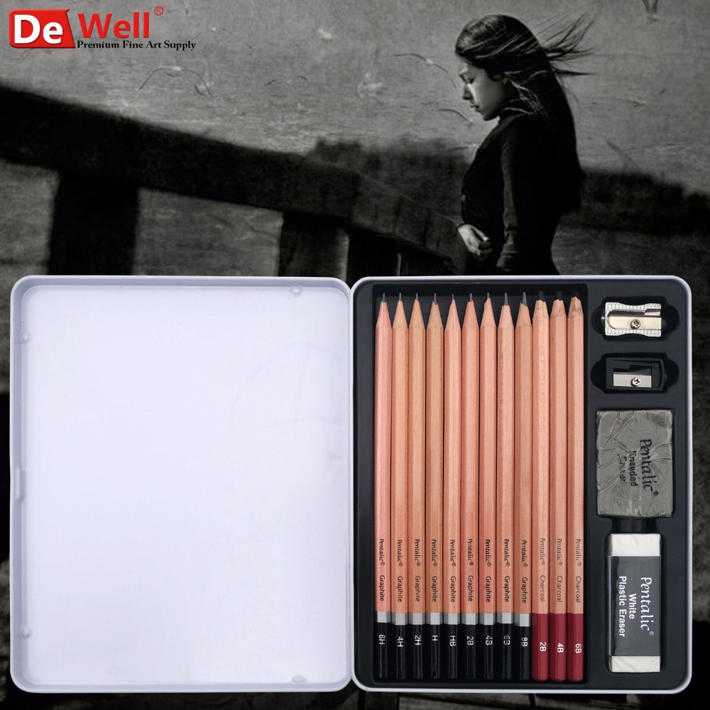 Artist Quality 12pcs 2H-8B-12B Set Graphite lapis Sketch Standard Pencils Professional Pencil Drawing Tools Set for Art Supplies