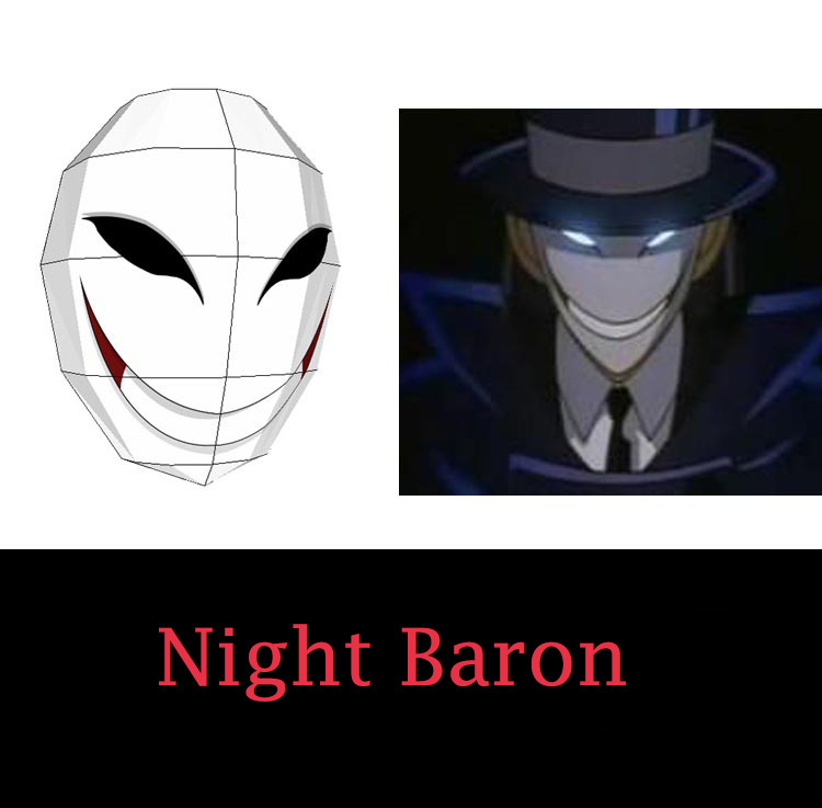 Min.order $10 (mix) 3D Paper Model Detective Conan Night Baron Mask Paper Art DIY Manual