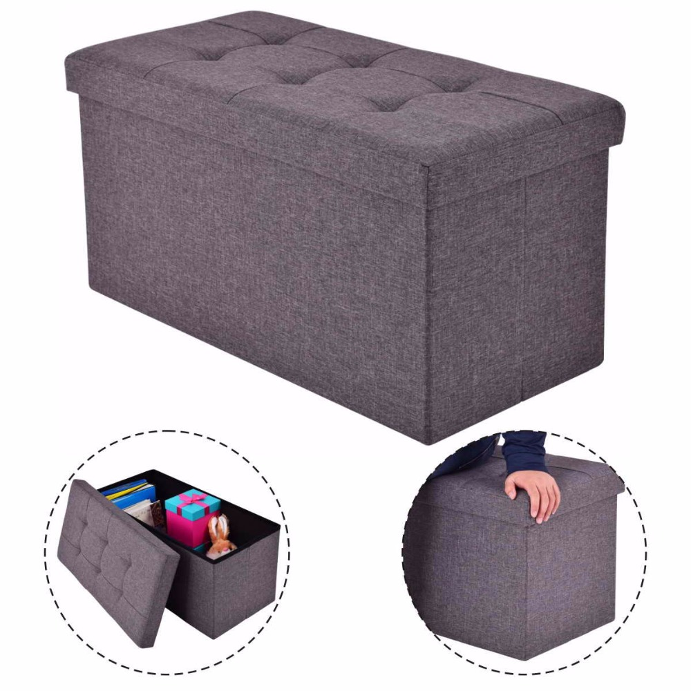 Goplus 76X38X38cm Storage Ottoman Modern Folding Rect Stool Box Footrest Living Room Furniture Pouffe Ottoman Bench HW53970 stainless steel sink drain rack