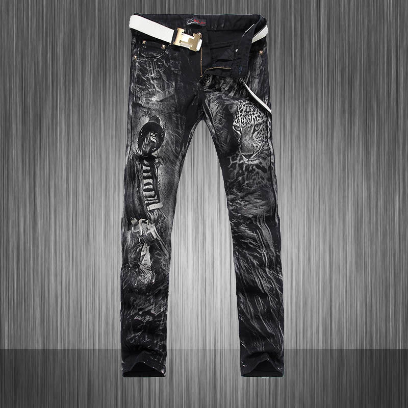 Hot New Autumn Summer 2015 Men Painted jeans Men Camouflage Pants Slim trousers Free shipping