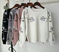 2016 new winter Korean embroidery flower sequins sweater sweet female pullover shirt Pink, white, gray, black