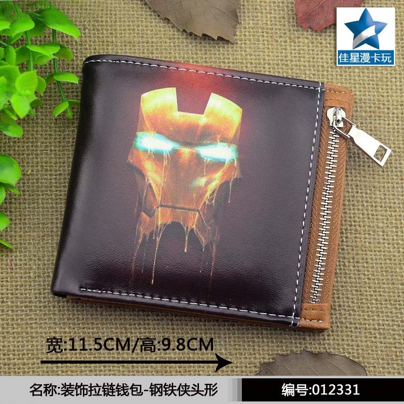 Horizontal Zipper Wallet/American Super Hero Iron Man Short Frosted Purse american super hero batman pu short zero wallet coin purse with interior zipper pocket