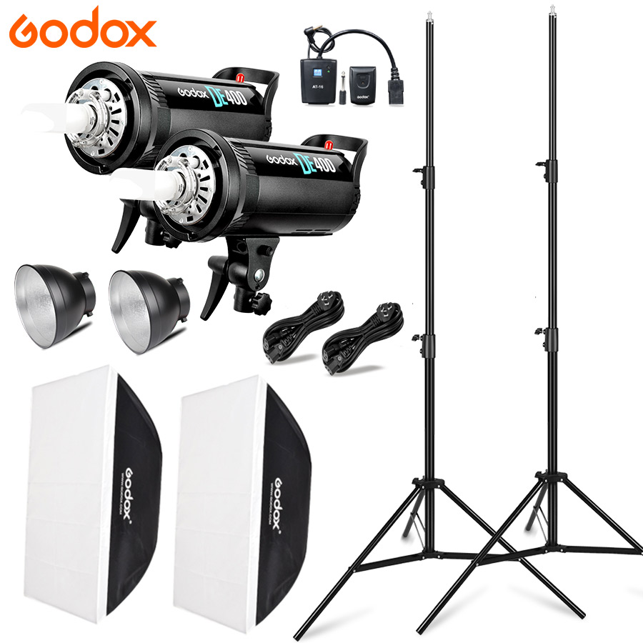 2x Godox DE400 Studio Photo Accessories Flash Lighting Kit 220V LED Video Light Lamp + 2x Softbox 70x100cm + 2x Light Stand цена