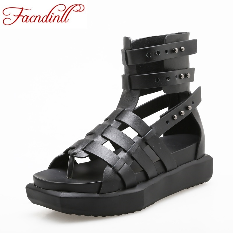 rome style women sandals 2017 fashion flip flops real leather gladiator sandals women shoes black white platform zapatos mujer leather