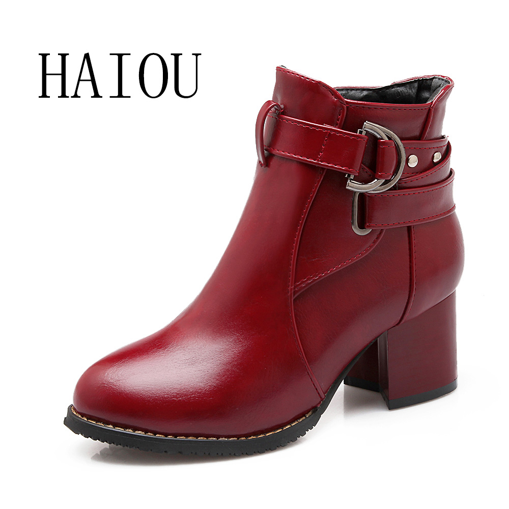 HAIOU Brands Fashion Women Ankle Boots 2016 New PU Leather Buckle Autumn Boots Female Low Heels