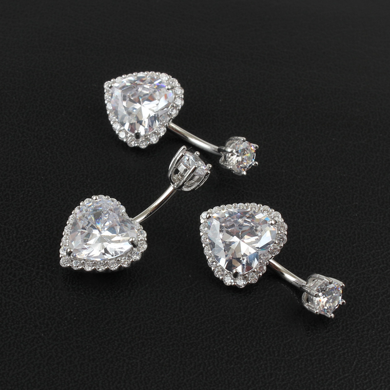 Real 925 sterling silver belly button ring women fine jewelry heart body piercing jewelry S925 6 8 10 mm navel bar zircon stones-4