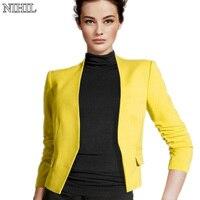 Fashion Women Short Coats 2016 Spring New Candy Color Casual Jackets Three Quarter Sleeve Black Slim