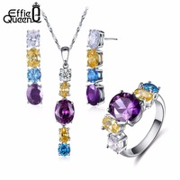 Effie Queen Top Quality Jewelry Set Romantic Strip Shape Ring With Colorful Zircon Earrings Pendant Necklace