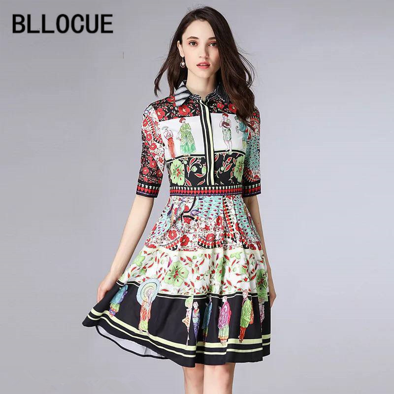 BLLOCUE Fashion Designer Runway Dress 2018 Summer Women s Half Sleeve Character Floral Printed Vintage Dress