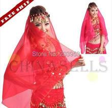 9pcs coin chiffon belly dance sari veil scarf Indian headdress props Accessories
