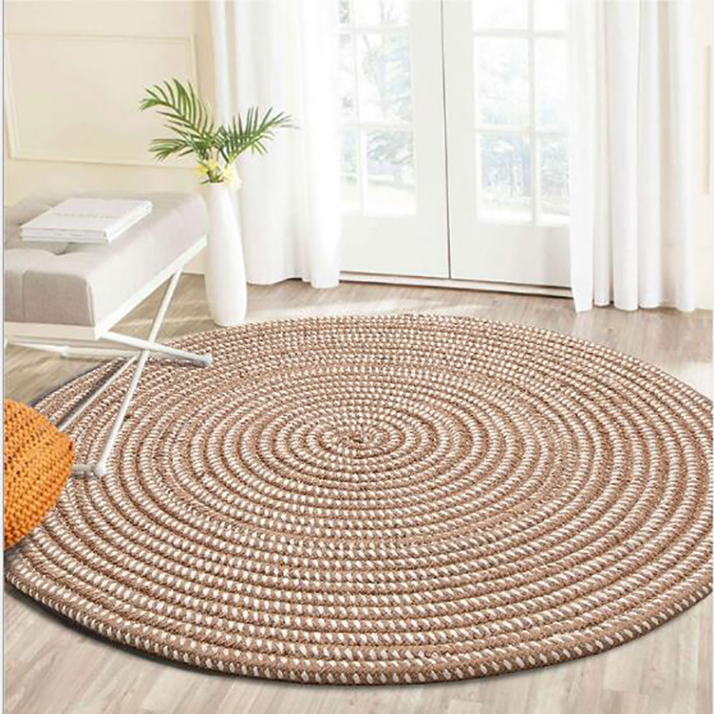 Hand Woven Thicken Round Rugs Soft Cozy Non-slip Washable Durable Handmade Area Rug Absorbent Bedroom Carpet Living Room Mat