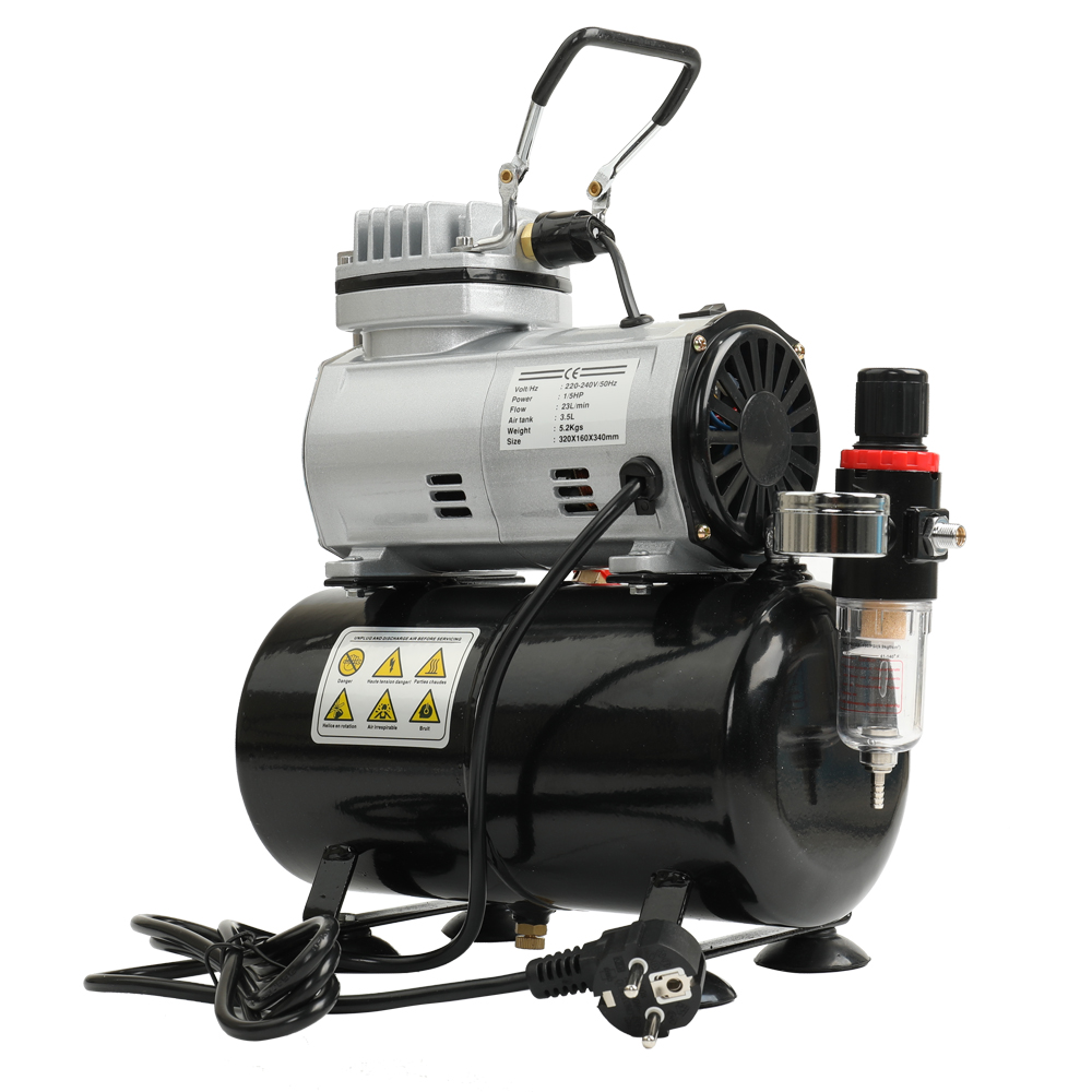EU High-efficiency Oil-less Quiet Air Compressor High-pressure Pump Woodwork Air Spray Paint Compressor Blast Pump Set oil free air compressor high pressure gas pump spray woodworking air compressor small pump 550w9l