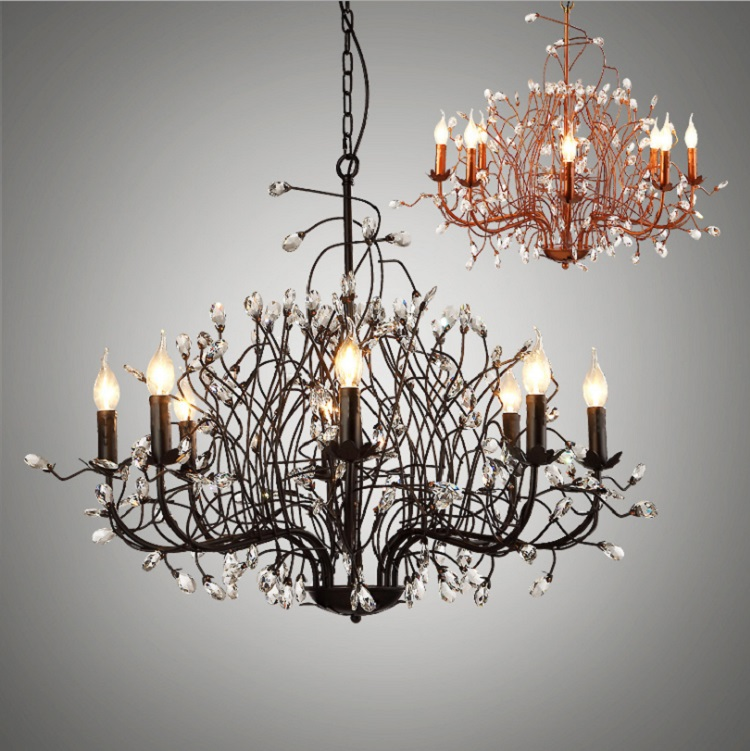 Rural crystal chandelier clothing shop living room lamp restaurant bedroom American branch iron art lamp europe retro wrought iron wall lamp k9 crystal branch restaurant rural bedroom wall lamp cafe bar coffee shop hall store club