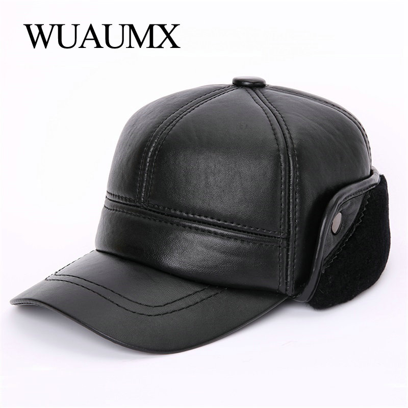 Wuaumx High Quality Sheepskin Leather Baseball Caps For Men Genuine Leather Winter Russian Hats For Male Warm Hat With Ear flap