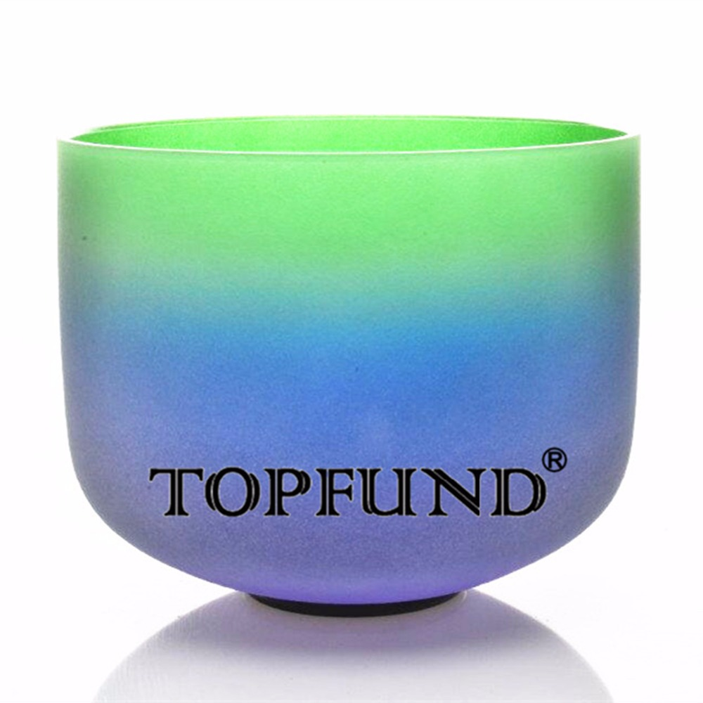 TOPFUND Rainbow Color Chakra Frosted Quartz Crystal Singing Bowl 12