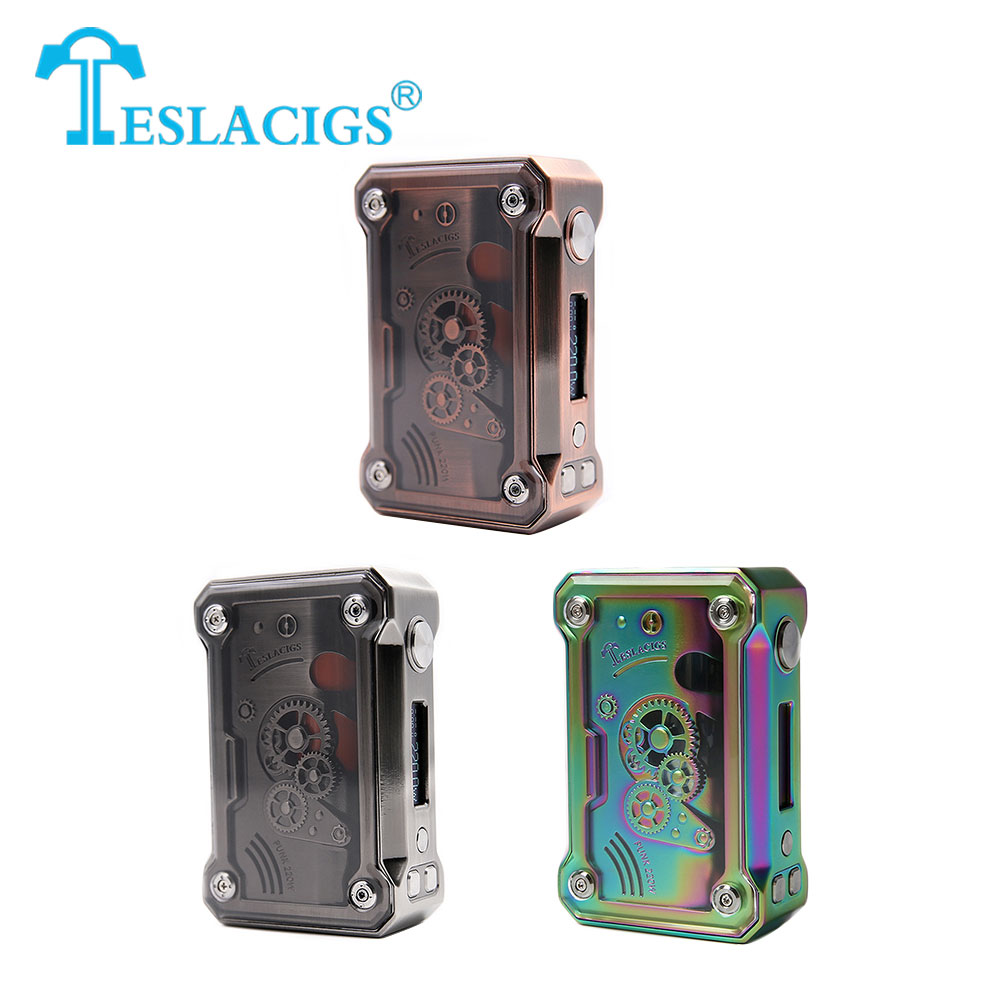 Original 220W Tesla Punk TC Box MOD Max 220W Output Huge Power VW/ TC/ TCR No 18650 Battery Box Mod Punk Style Mod Vs DRAG Mod