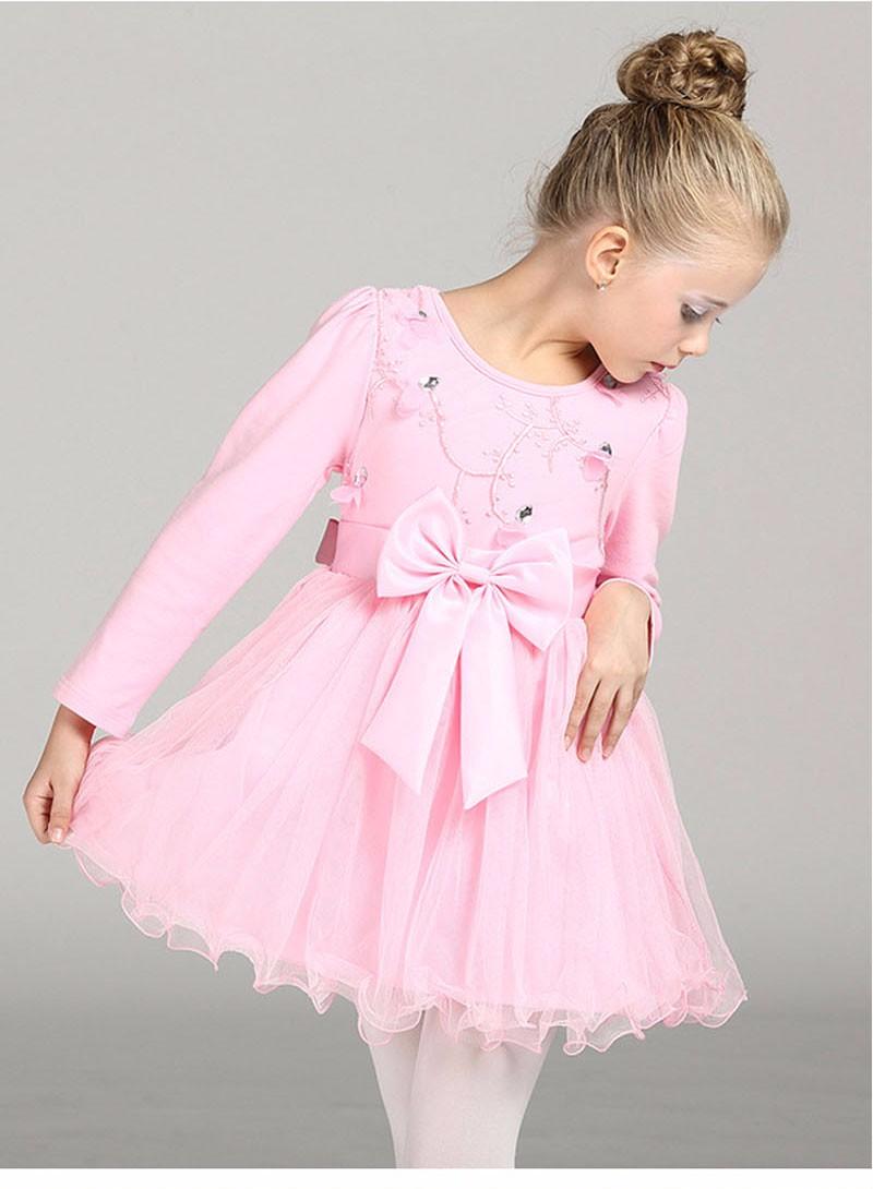 Flor chica vestidos de manga larga ropa de invierno de color rosa ...
