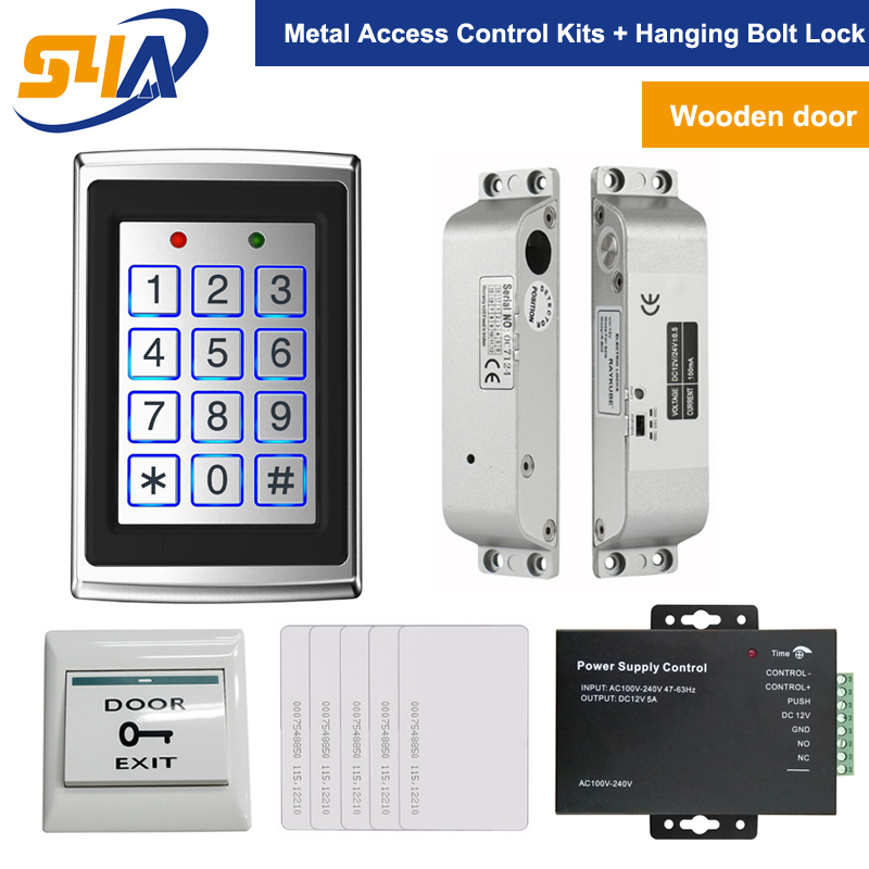 RFID Standalone Access Control Keypad + Hanging Electric Bolt Lock For Wooden Door System metal rfid em card reader ip68 waterproof metal standalone door lock access control system with keypad 2000 card users capacity