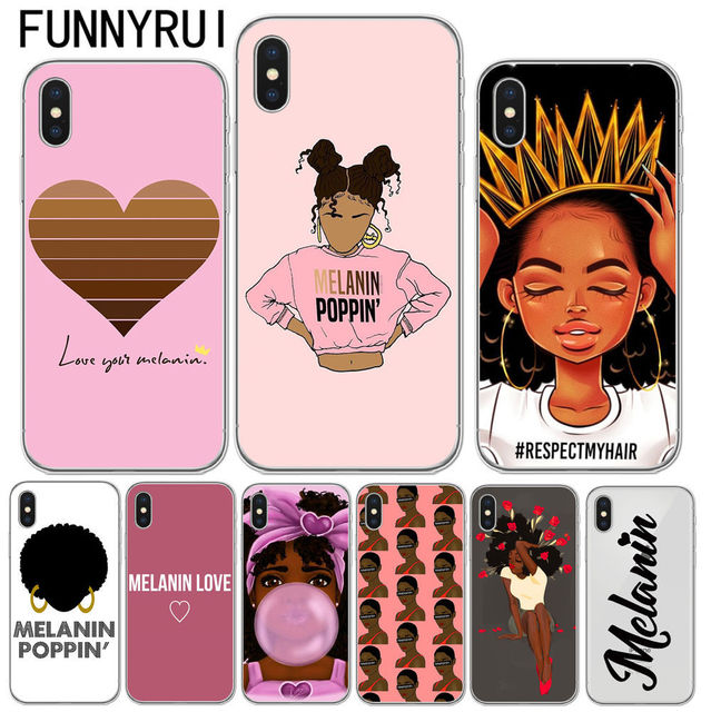 finest selection 22c4e bfd06 US $1.59 30% OFF|2bunz Melanin Poppin Aba Cases For iPhone X Fashion Black  Girl Soft TPU Phone Cover For iPhone 5 5S SE 6 6SPlus 7 7 Plus 8 8Plus-in  ...