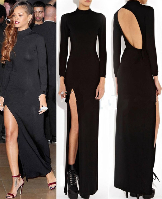 2017 Summer Hollywood Star Casual Long Split Dress Women Black Bare Back
