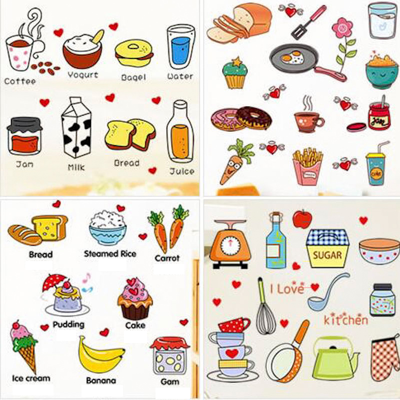 Kartun Lucu Nursery Dinding Stiker Bayi Stiker Anak Makanan