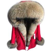 2018 новые зимние Для женщин большой енота меховой воротник с капюшоном натуральным лисьим мехом лайнер пальто черный Армейский зеленый парк