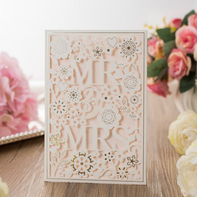 50pcs Paper Laser Cut Bronzing Wedding Baby Shower Invitation Cards Flower Hollow Favor Cardstock Engagement Birthday Graduation