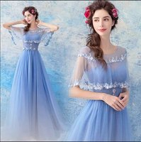 Handmade Heavy Emboridery Beaded Blue Dresses Women Luxury A Line Butterfly Sleeve Floral Evening Party Dress For Lady Plus Size