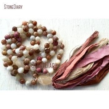 10mm Faceted Moonstone Sunstone Rhodonite 108 Mala Beads Necklace Crown Chakra Silk Sari Tassel Necklace NM11083