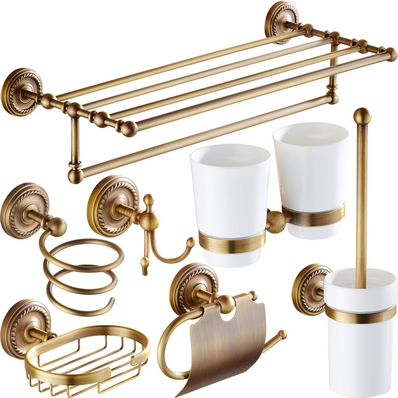 Antique Solid Brass Bathroom Accessories Set Carved Bronze Bathroom  Hardware Set Brushed Brushed Wall Mounted Bath