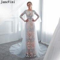 JaneVini элегантный одежда с длинным рукавом платья подружек невесты трапециевидной формы вышивка цветочный узор Иллюзия Тюль Формальные