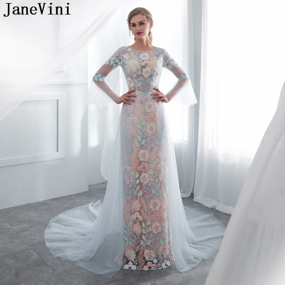 JaneVini Elegant Long Sleeves   Bridesmaid     Dresses   A Line Embroidery Flower Pattern Illusion Tulle Formal Prom Gowns Court Train