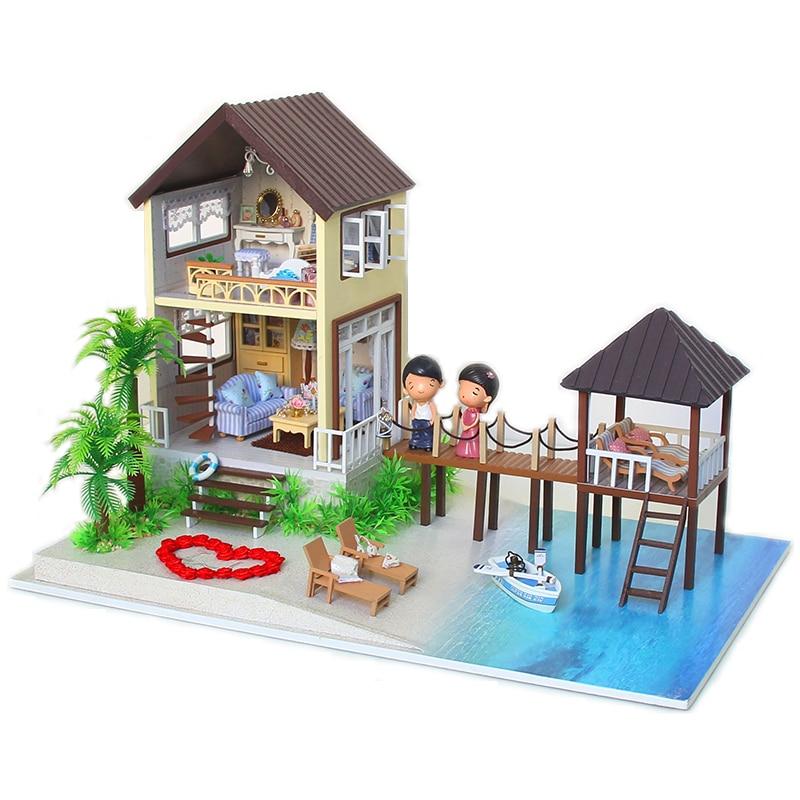 Elegant DIY Doll House Miniature Wooden Model With 3D Furnitures Handmade DollHouse Toys Gift For Children Maldives A027 #D wooden handmade dollhouse miniature diy kit caravan