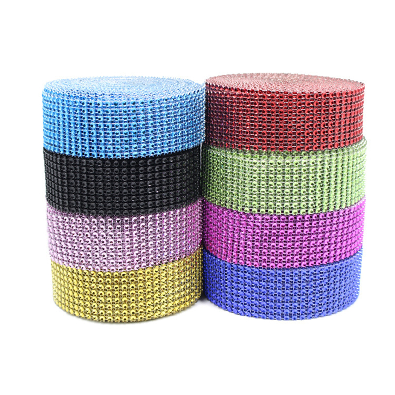 Wedding Event Party Diamond Roll 10Yard Crystal Ribbons Rhinestone Mesh Tulle Roll Bling Cake Baby Shower Birthday Party Decor,9