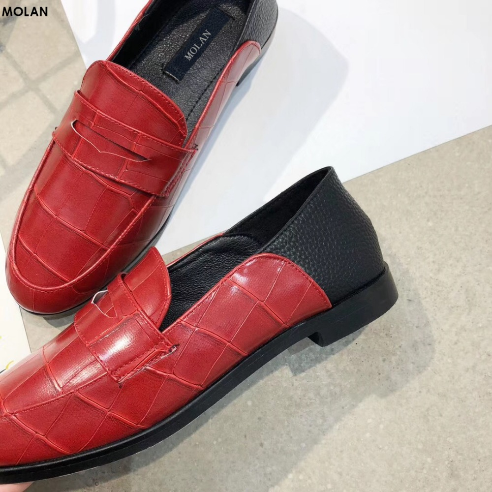 MOLAN Brand 2018 Spring New Fashion 2 Wearing Ways Crocodile Pattern Leather Flats Woman Shoes Round Toe Slip On Loafers Outside 2017 brand new fashion spring women big head shoes slip on loafers round toe casual shoes flats leather shallow boat shoes xa 87
