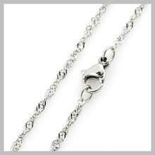 1.8mm S.Steel Twisted Singapore Chain Necklace With Lobster Clasp 316L Stainless Steel Wave S009