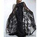 Vestido elegante vestidos de noite com cabo Lace apliques Beads Bling Evening vestidos tripulação Sleeve Long Neck Prom vestidos 2016